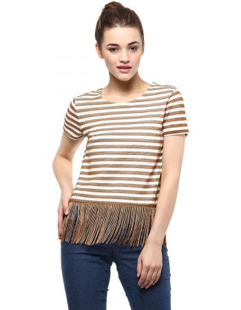 Buy Textured Stripe Crop Top From Vibe