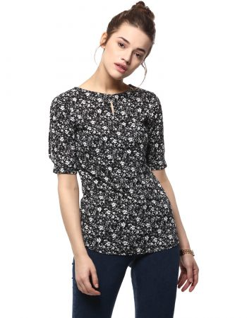 Shop Online Floral Print Top With Back Bow