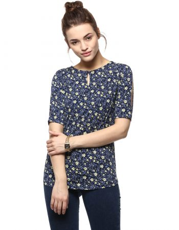 Buy Floral Print Top With Back Bow