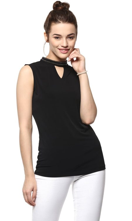 Buy Sleeve-Less Neck Embellished Black Top