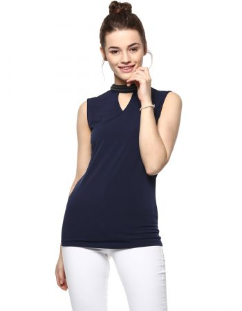 Buy Sleeveless Neck Embellished Navy Blue Top at Best Price