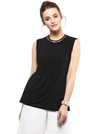 Buy Neck Embellishment Front Flap Black Top at Best Price