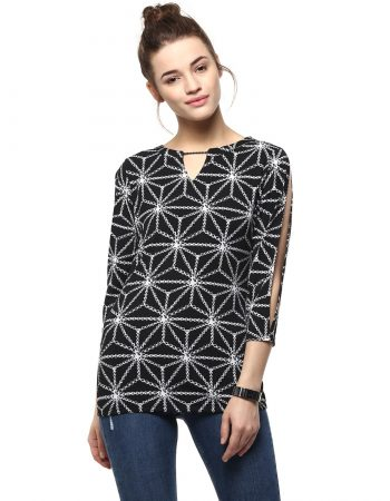 Buy Cold Sleeve Chain Print Black Top at Best Price in India