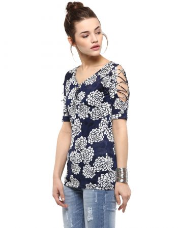 Buy Sleeve Cutout Navy Blue Top at Best Price