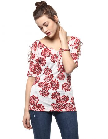 Buy Affordable Neck Zipper Sleeve Cut Out Floral Top