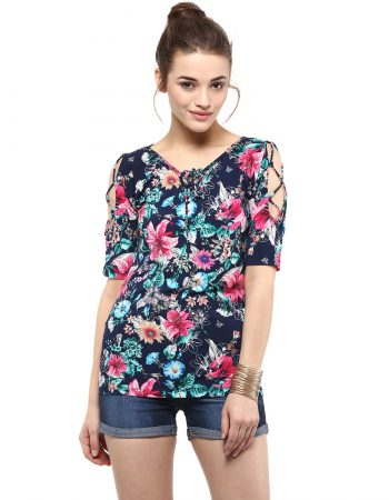 Buy Floral Print Cord Detailed Top at Best Price
