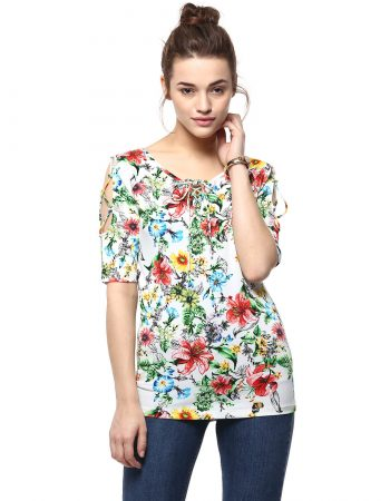 Buy Affordable Floral Print Cord Detailed Top