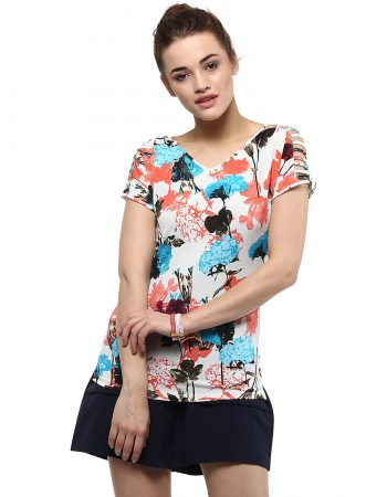 Buy V Neck Sleeve Cut Out Top