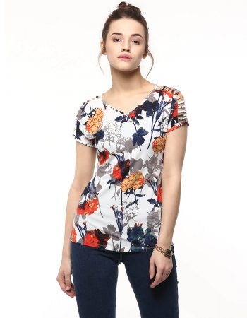 Buy Floral V Neck Sleeve Cut Out Top at Best Price