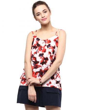Buy Floral Print Layered Red Cami Top at Best Price