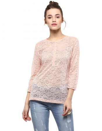 Buy Pink Lace Top in India