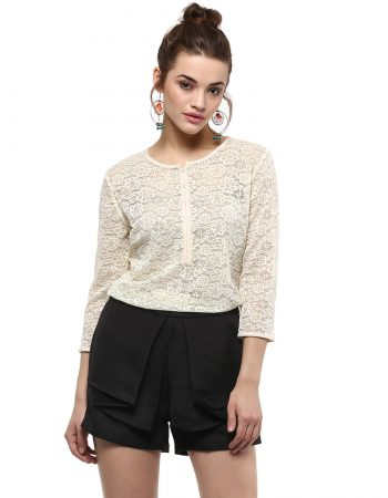 Buy Yellow Lace Placket Top in India