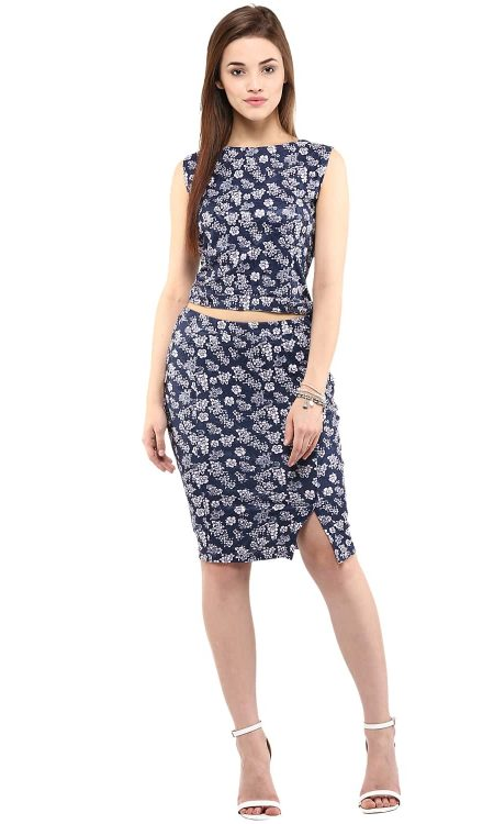 buy croptop skirt textured floral print navy blue color