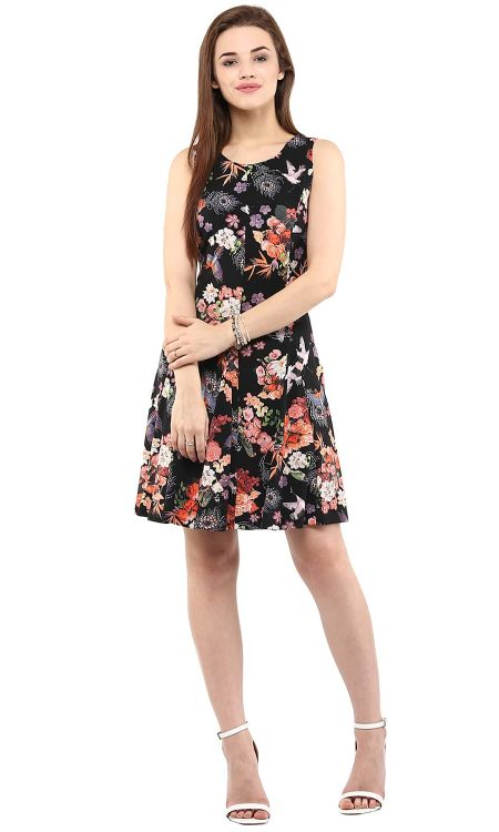 Buy Digital Print Skater Black Dress
