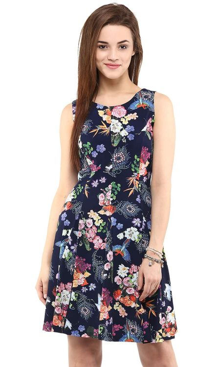 Buy Digital Print Skater Navy Blue Dress