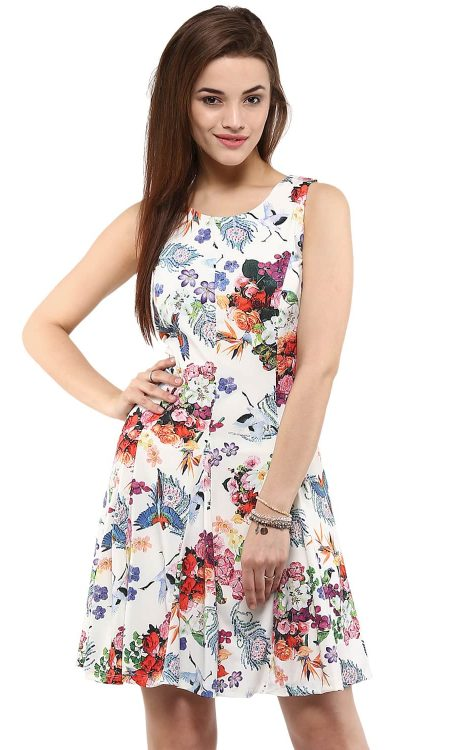 Buy Digital Print Skater White Dress