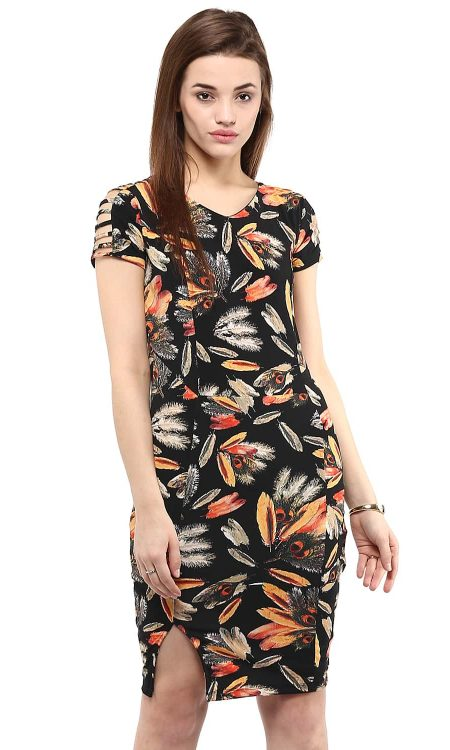 Buy black sleeve cutout front slit digital floral dress