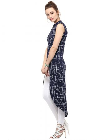 Buy Women Blue Floral Print Front Zipper Dress