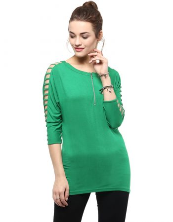 Buy Front Zipper Designed Sleeves Top at Best Price