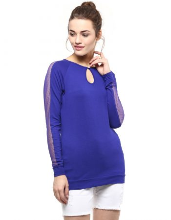 Buy Dot Lace Sleeve Blue Top at Best Price