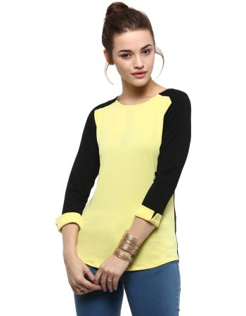Buy Yellow Block Top With 3/4 Sleeves