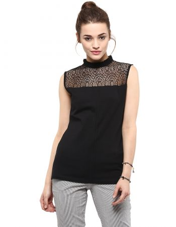 Buy Sleeve Less Neck Ruffle Top at Best Price