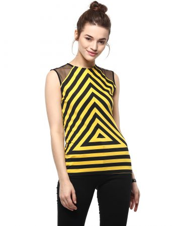 Buy Front Mesh With Stripe Play Yellow Top online