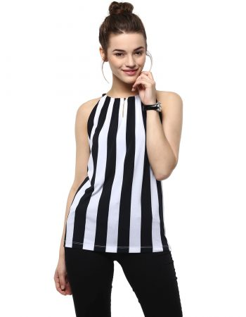 Buy Black Stripe Top Front Button at Best Price