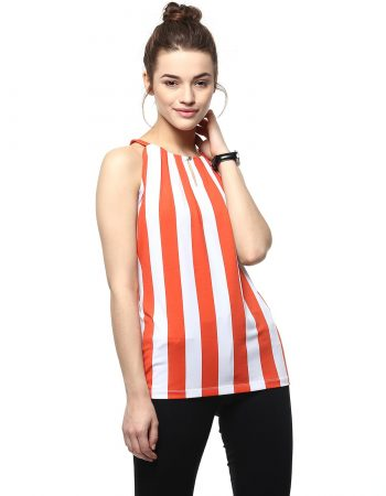 Buy Orange Stripe Top With Front Button at Best Price