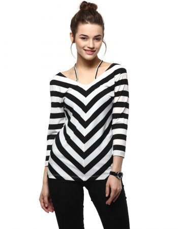 Buy Black Stripe Top With Neck Detail at Best Price