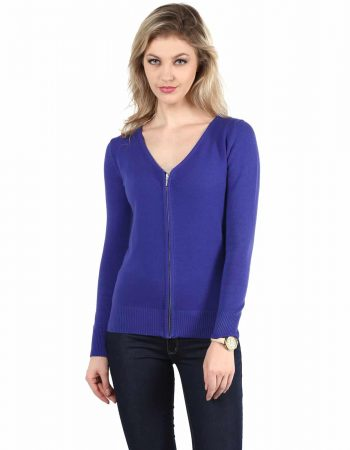 Buy Affordable Blue Front Zipper Cardigan