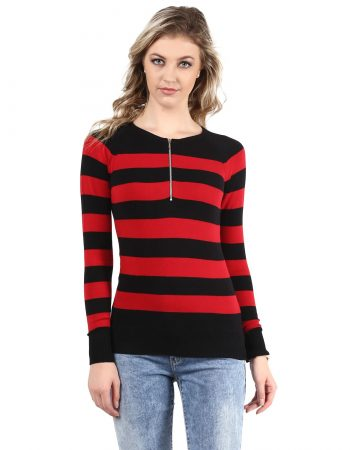 Red Melange Striped Sweater in India