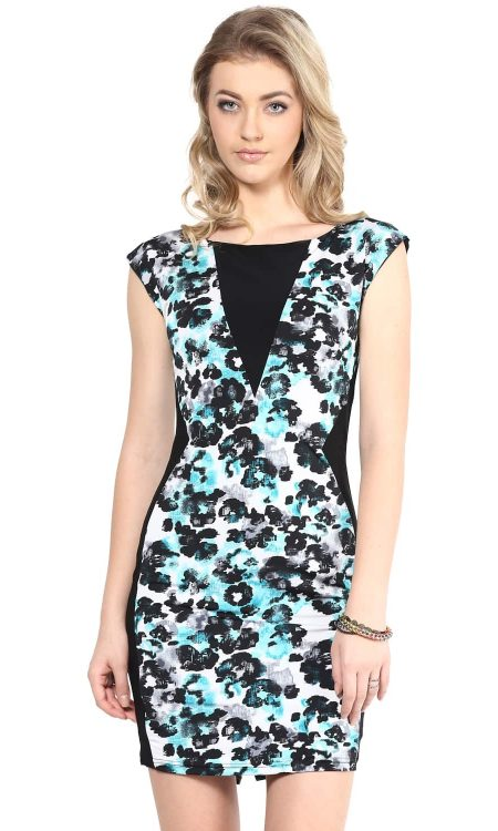 Buy turquoise colorblock print dress