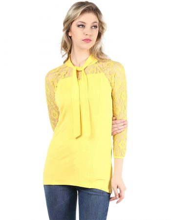 Buy yellow color lace top with necktie