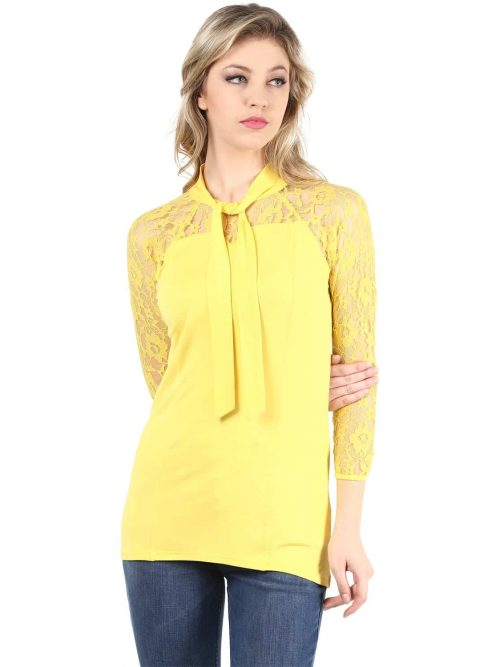 Buy yellow color lace top with neck tie