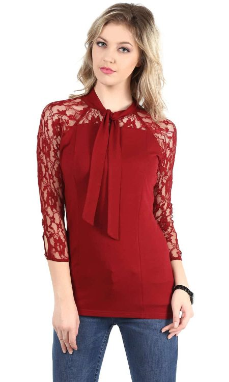 Buy red color lace top with neck tie