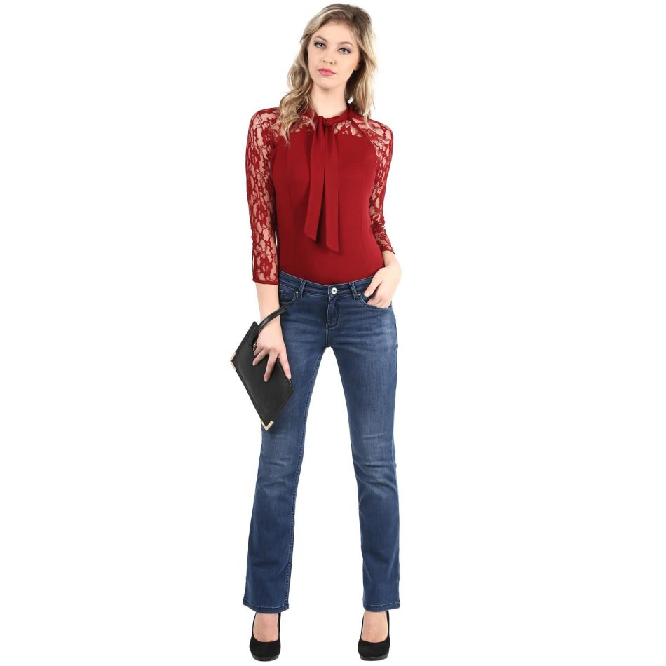 Online red color lace top with neck tie