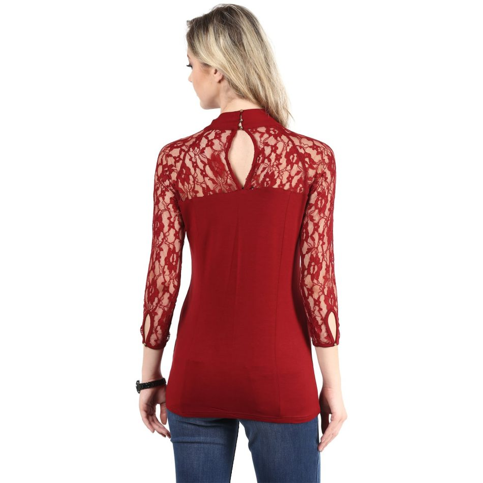 Affordabe price red color lace top with neck tie