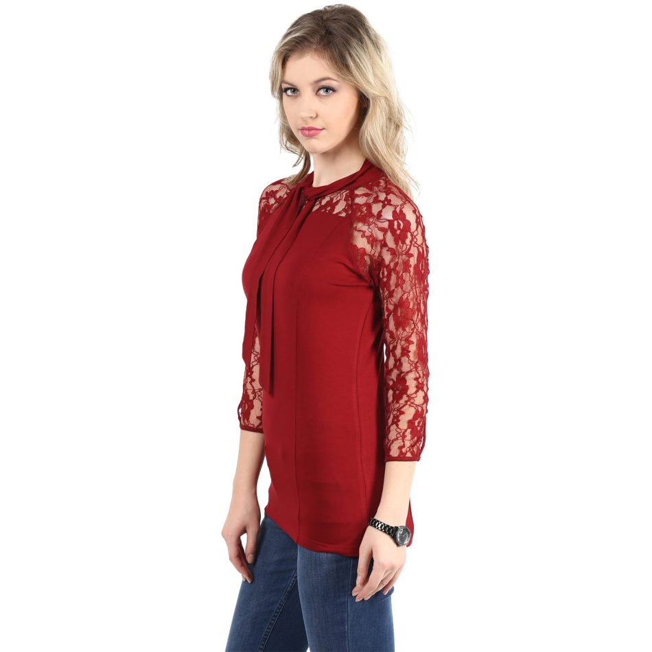 Red color lace top with neck tie online in noida