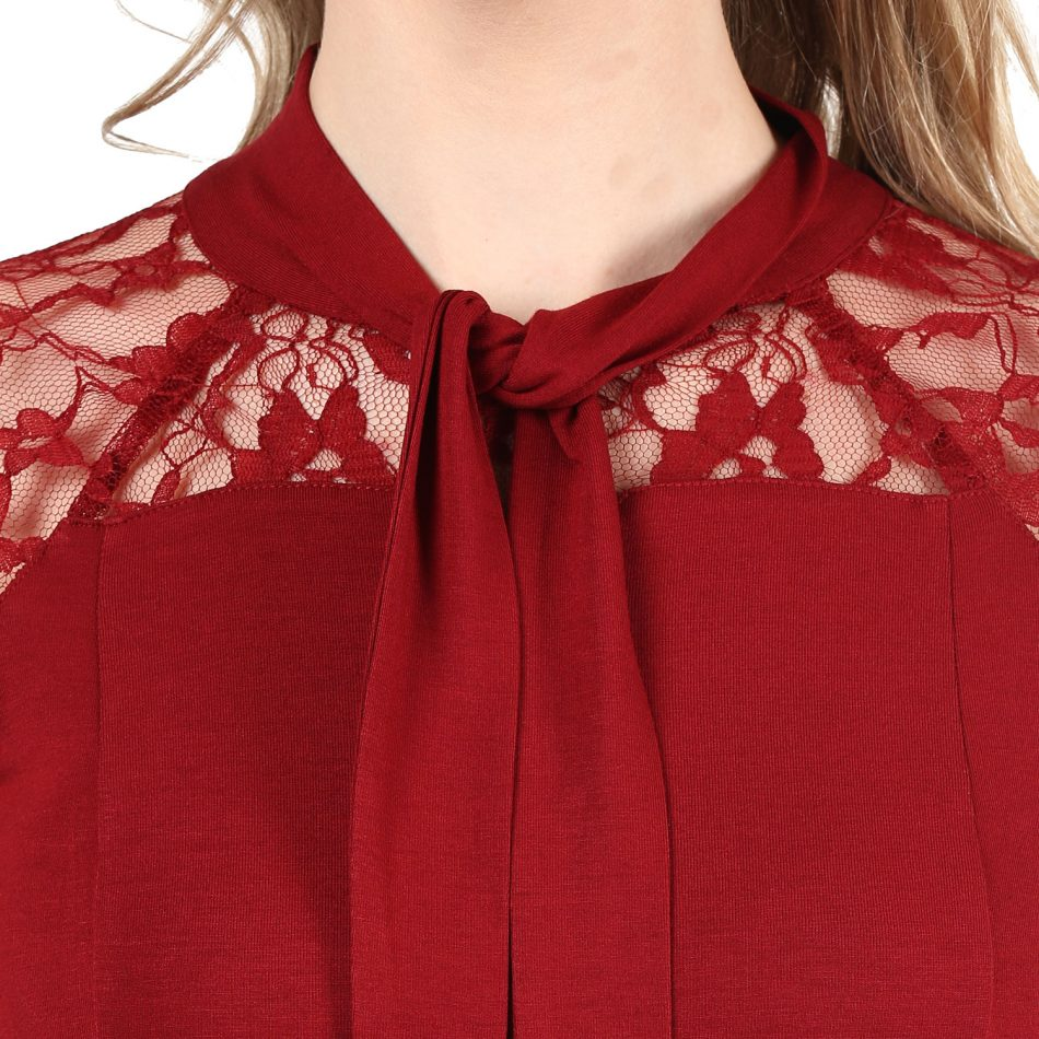 Shop red color lace top with neck tie