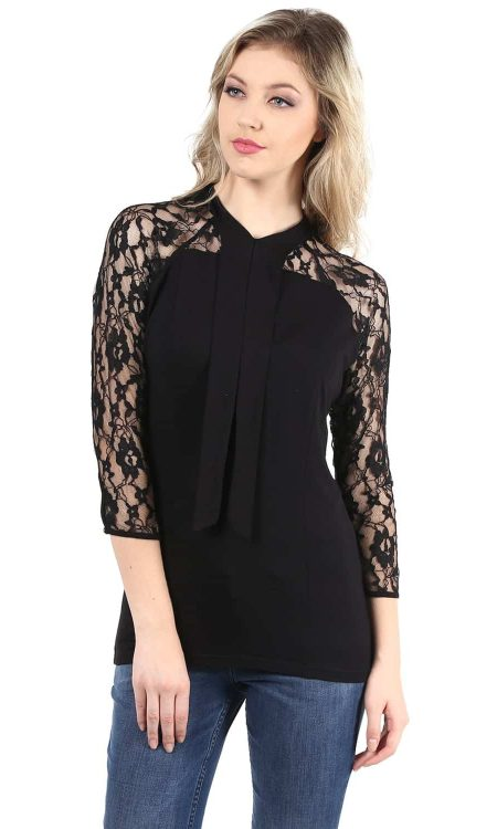 Buy black color lace top with neck tie