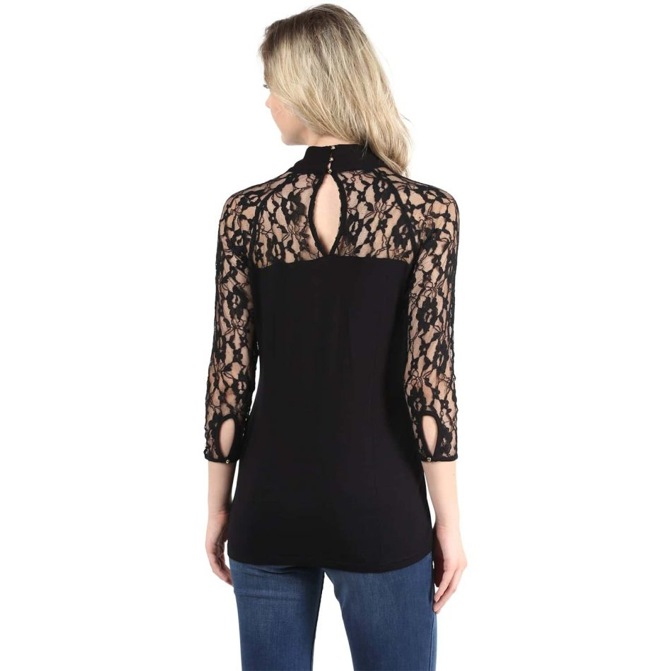 Affordabe price black color lace top with neck tie