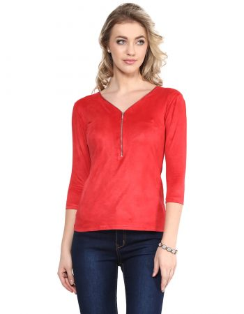 Buy Red Suede Zip Top With Back Detailing at Best Price