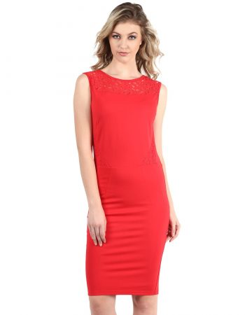 Red Dress With Lace In Lay On Waist