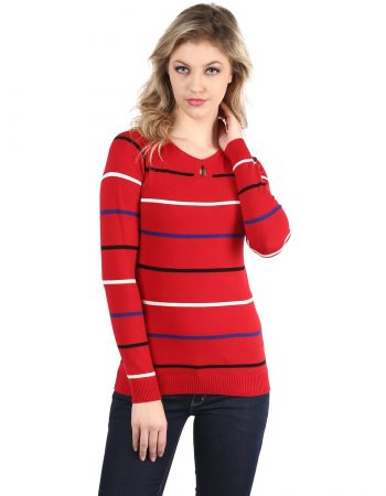 Full Sleeve Keyhole Red Sweater in India