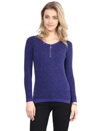 Blue Animal Print Front Zipper Sweater in India