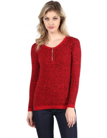 Animal Print Front Zipper Sweater in India