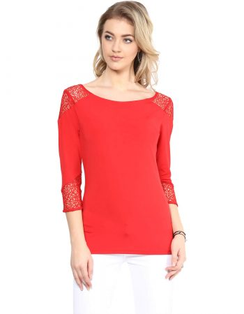 Buy Red Scoop Neck Detailed Top at Best Price