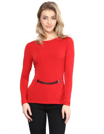 Buy Red Peplum Top With Chain Embellishment at Best Price in India