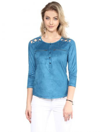 Blue Suede Front Button Up Top at Affordable Price